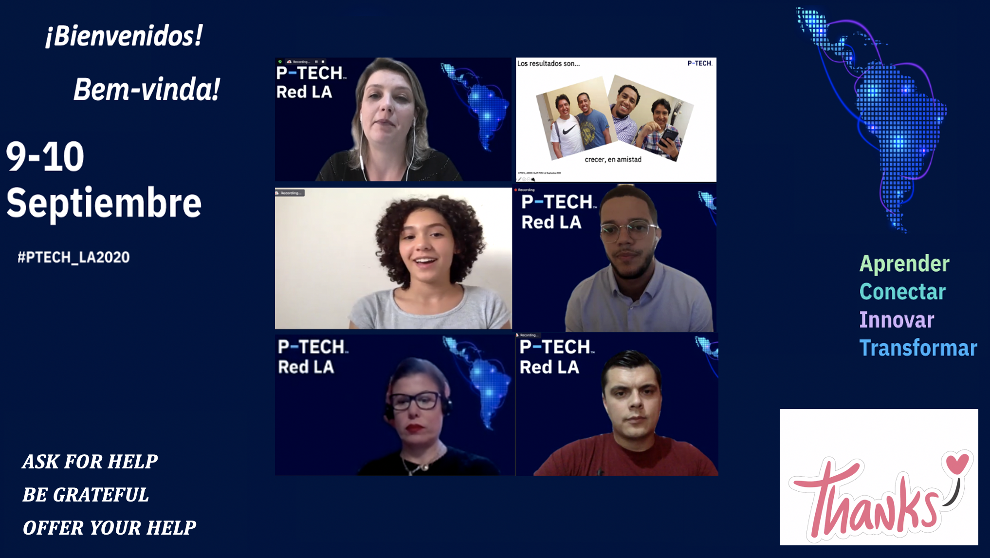 Picture with the color scheme and iconography of the P-TECH LA 2020 virtual event. In the middle, there are photos of the mentors and speakers.