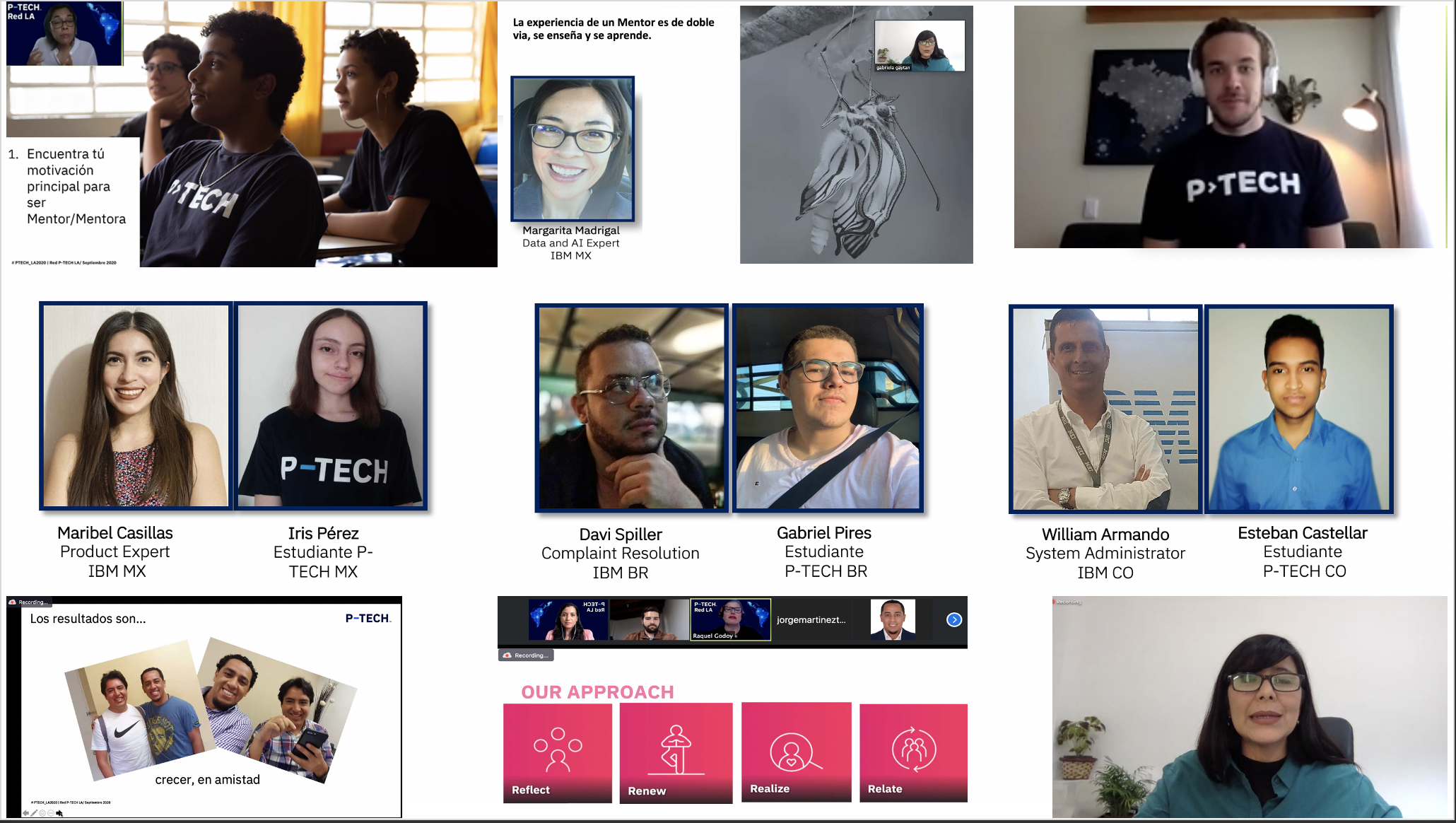Pic collage with students, mentors, teachers, and screenshots of the session