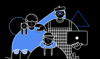 Cybersecurity illustration, 3 characters posing in a group